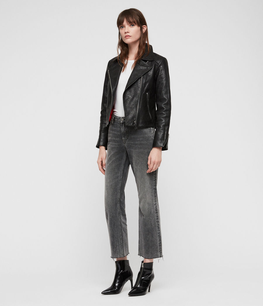 Womens Pataya Leather Biker Jacket (black) - Image 3