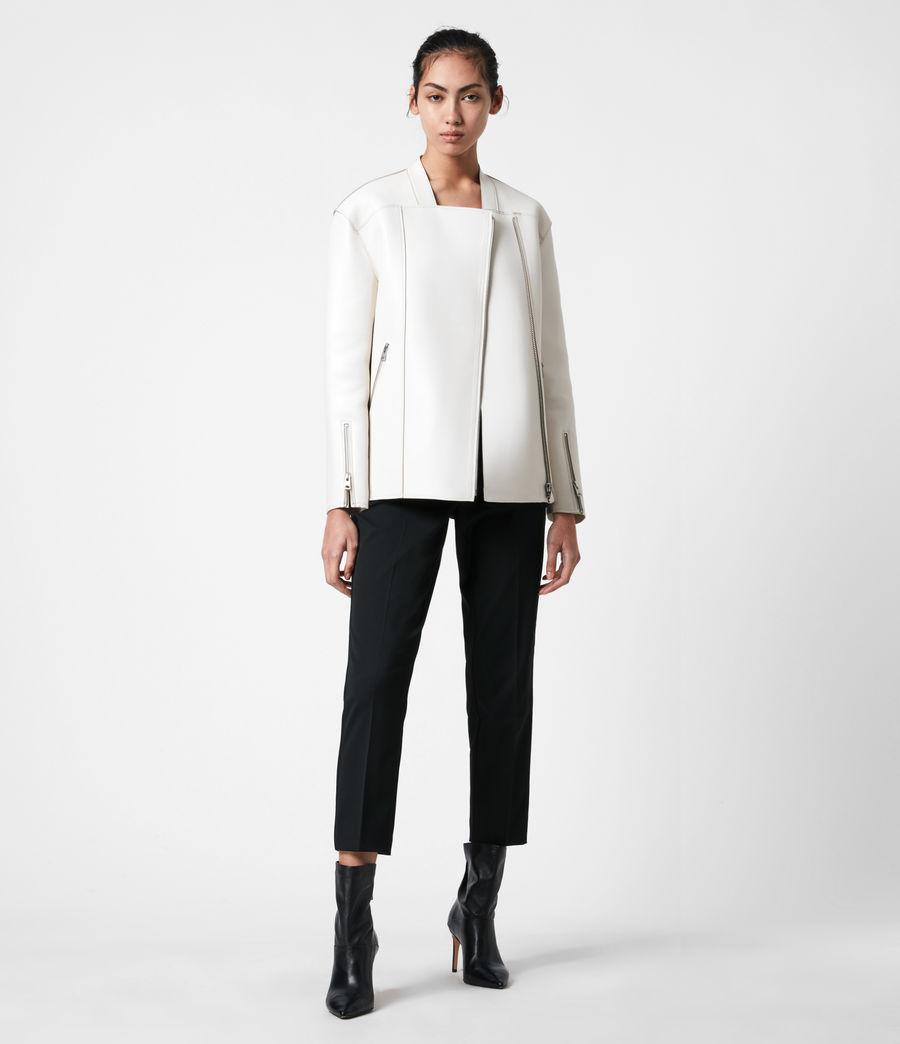 Womens Abbey Leather Jacket (off_white) - Image 4