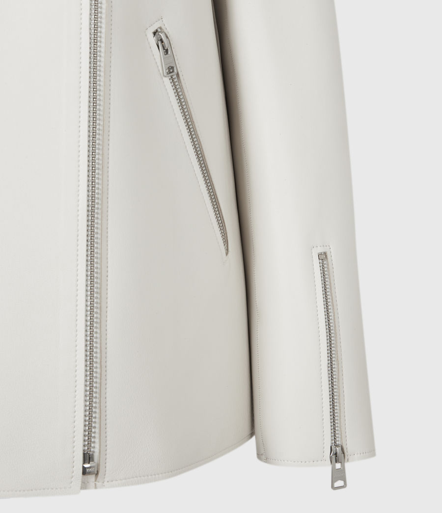 Womens Abbey Leather Jacket (off_white) - Image 6