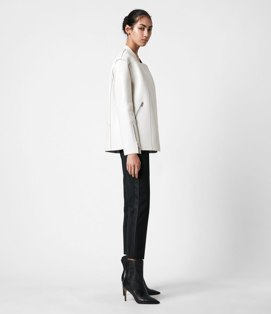 Womens Abbey Leather Jacket (off_white) - Image 7