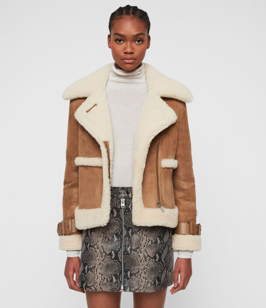 Women's Farley Shearling Jacket (sand_brown_ecru) - Image 1