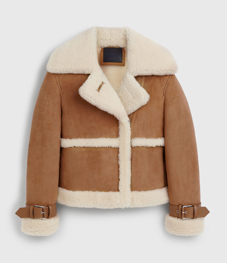 Women's Farley Shearling Jacket (sand_brown_ecru) - Image 10