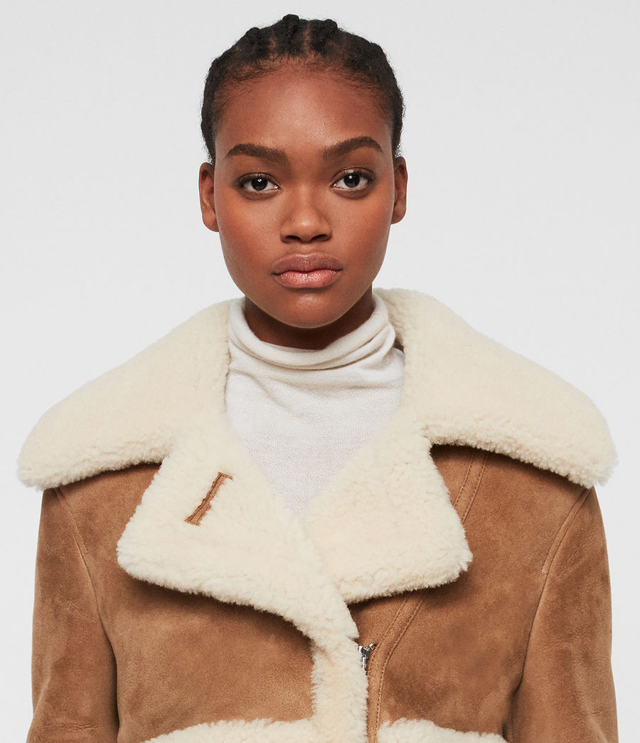Women's Farley Shearling Jacket (sand_brown_ecru) - Image 2