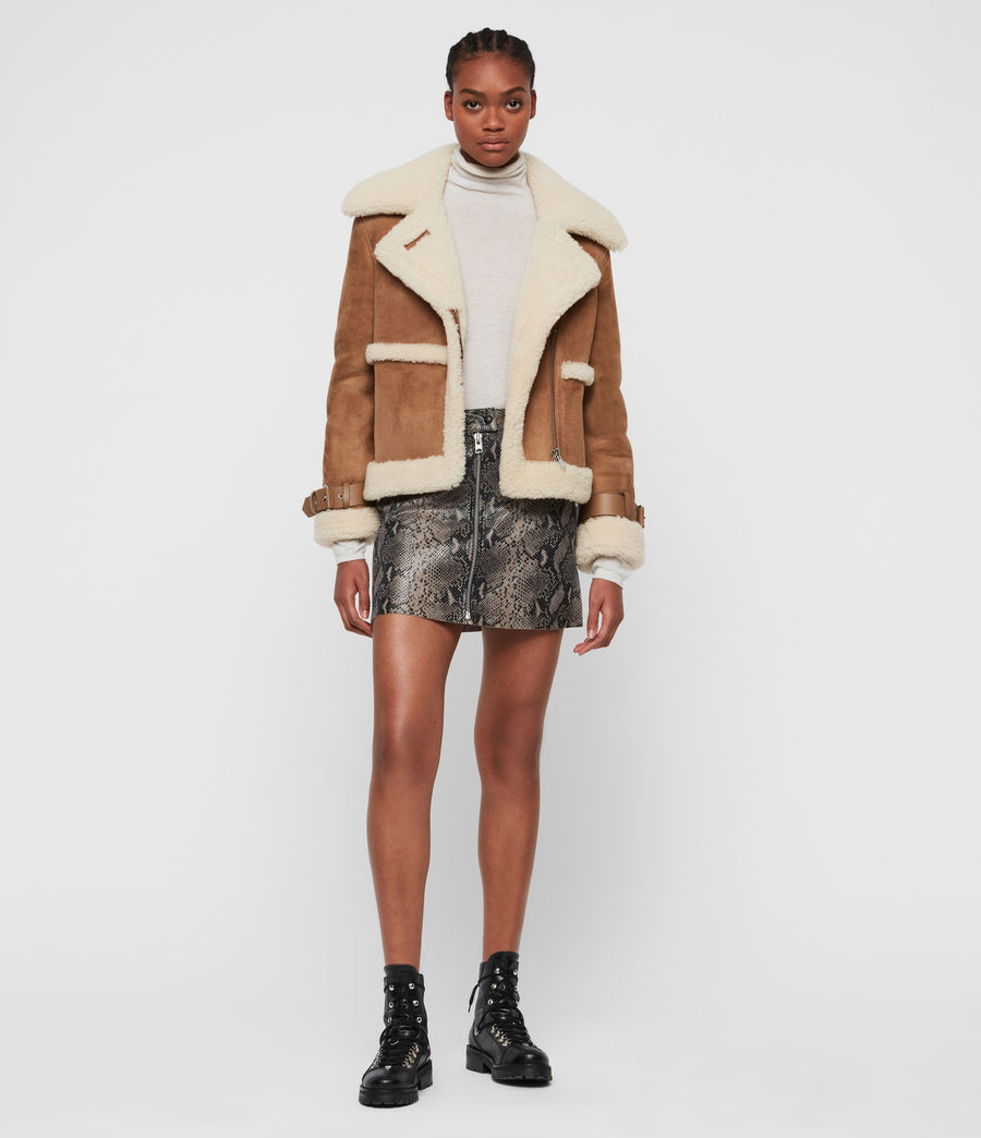 Women's Farley Shearling Jacket (sand_brown_ecru) - Image 3