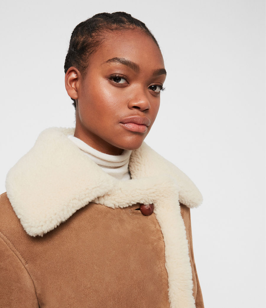 Womens Farley Shearling Jacket (sand_brown_ecru) - Image 4