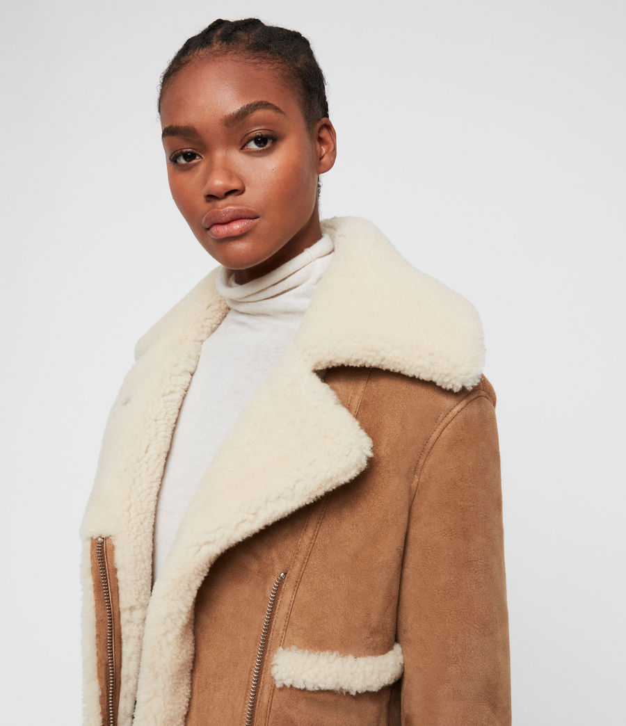 Women's Farley Shearling Jacket (sand_brown_ecru) - Image 5