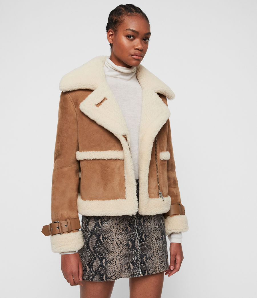 Women's Farley Shearling Jacket (sand_brown_ecru) - Image 6