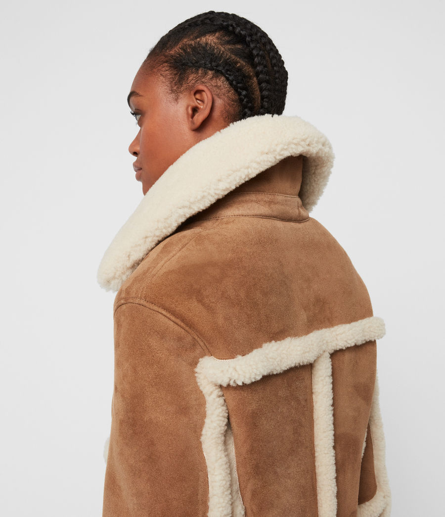 Women's Farley Shearling Jacket (sand_brown_ecru) - Image 7