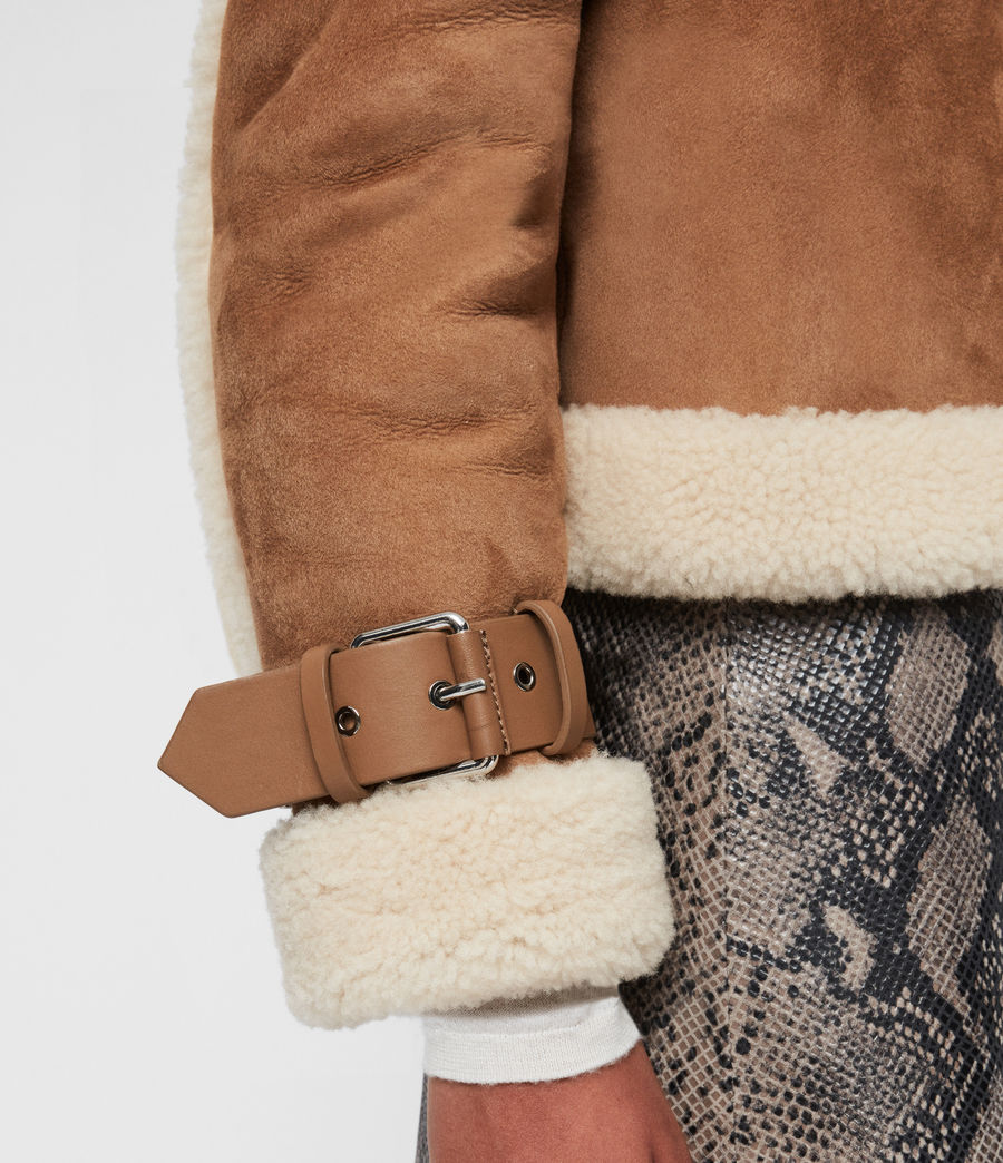Womens Farley Shearling Jacket (sand_brown_ecru) - Image 8