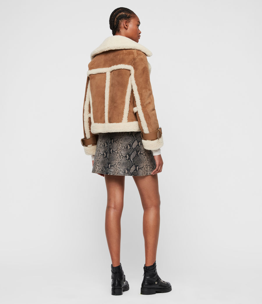 Womens Farley Shearling Jacket (sand_brown_ecru) - Image 9