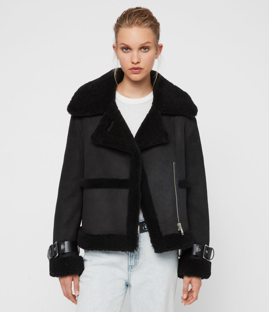 Womens Farley Shearling Jacket (black_black) - Image 1