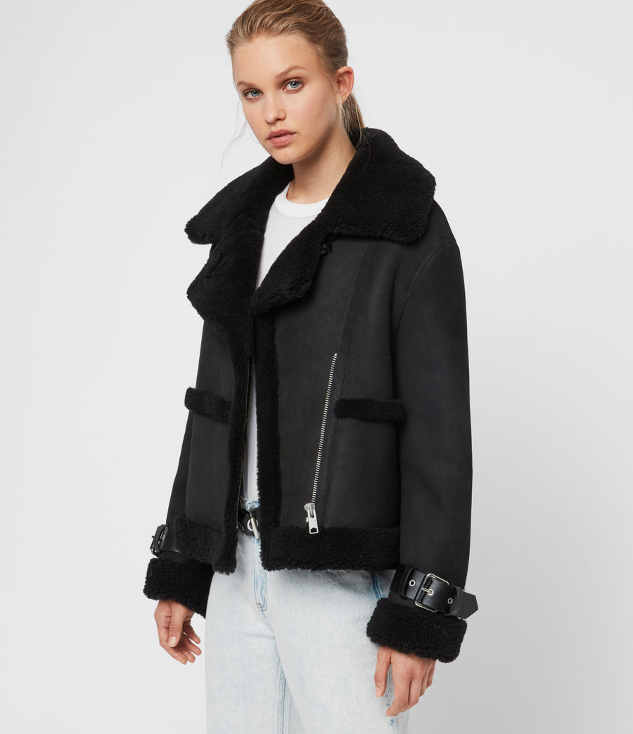 Womens Farley Shearling Jacket (black_black) - Image 3