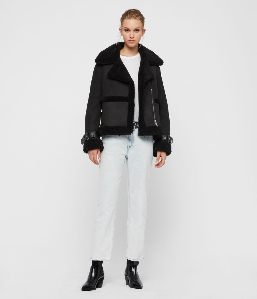Womens Farley Shearling Jacket (black_black) - Image 4