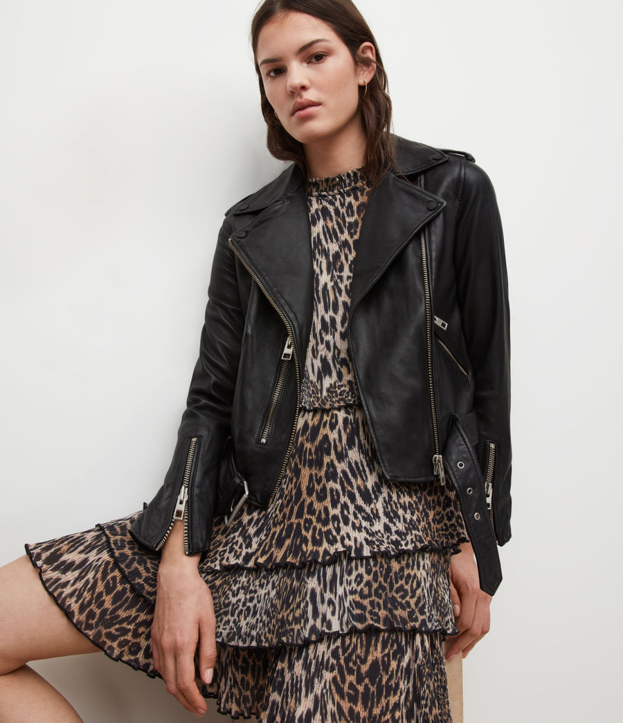 Women's Balfern Leather Biker Jacket (Black) - Image 2
