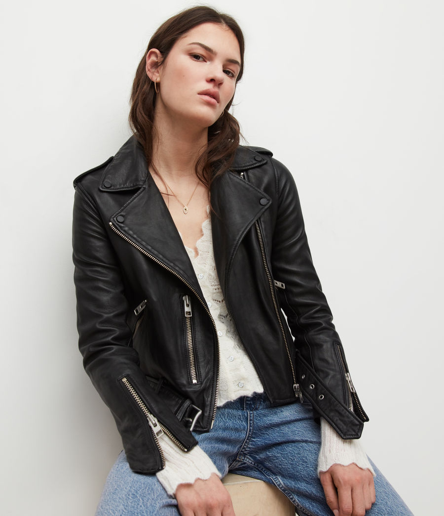 Women's Balfern Leather Biker Jacket (black) - Image 4