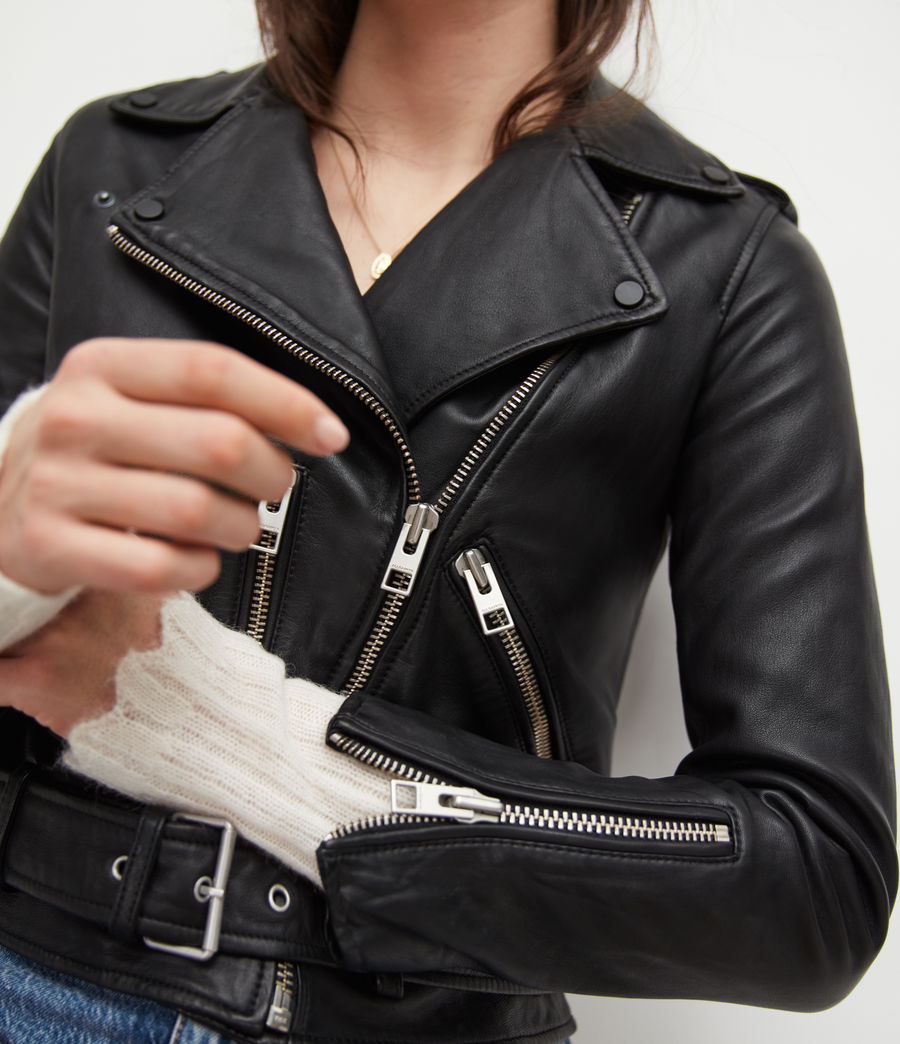 Womens Balfern Leather Biker Jacket (Black) - Image 5