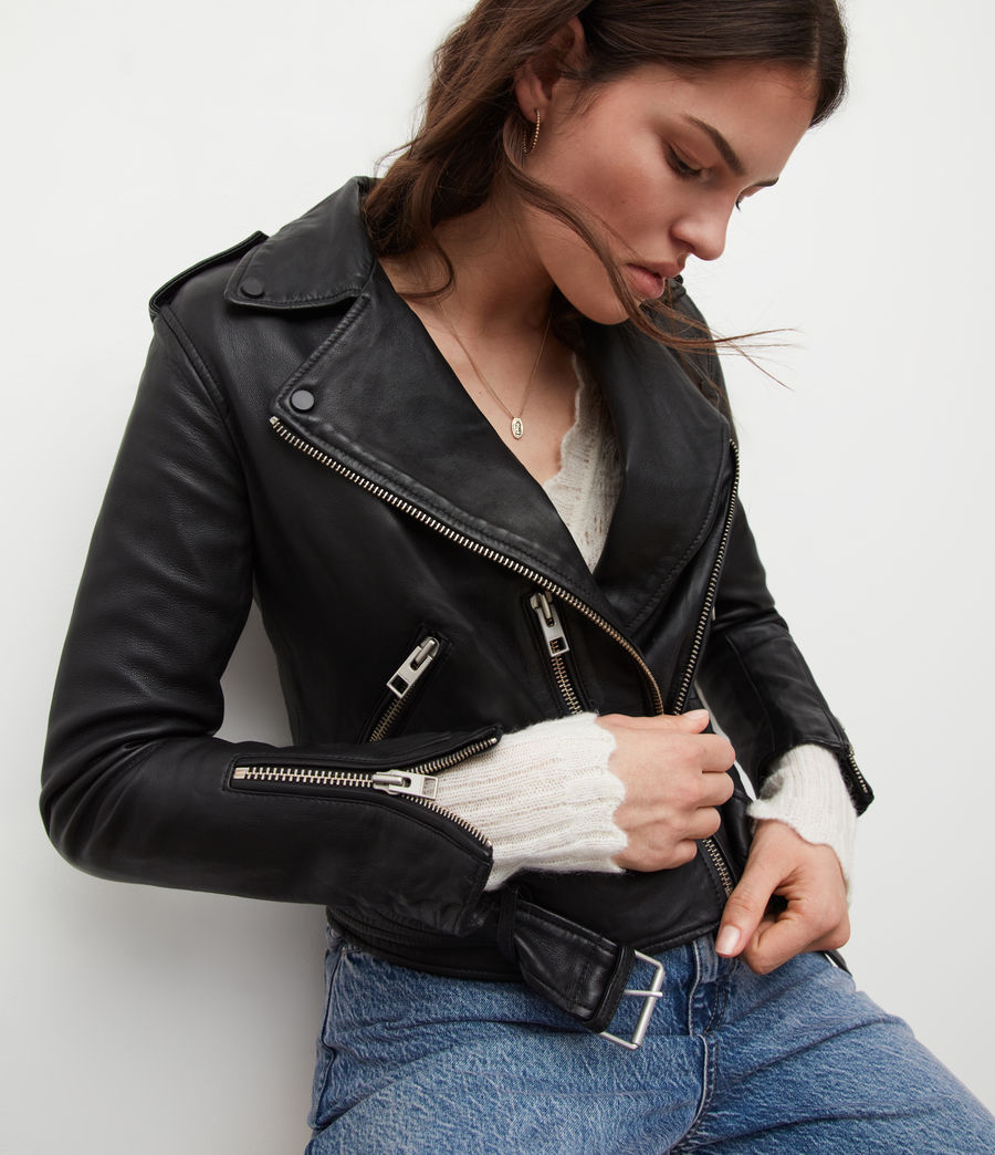Womens Balfern Leather Biker Jacket (black) - Image 6