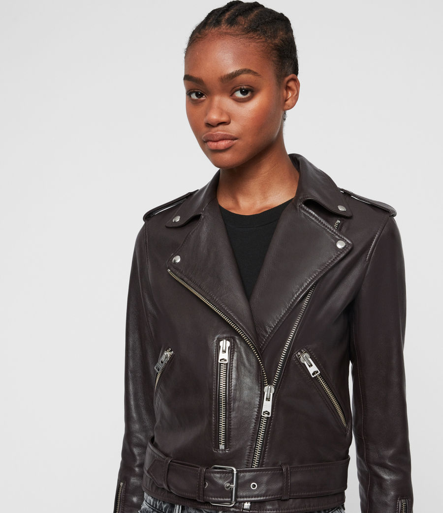 Womens Balfern Leather Biker Jacket (deep_berry_red) - Image 2
