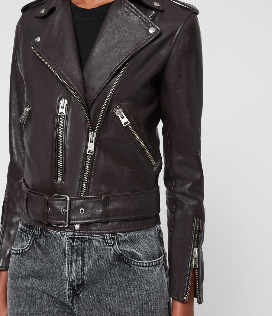 Womens Balfern Leather Biker Jacket (deep_berry_red) - Image 5
