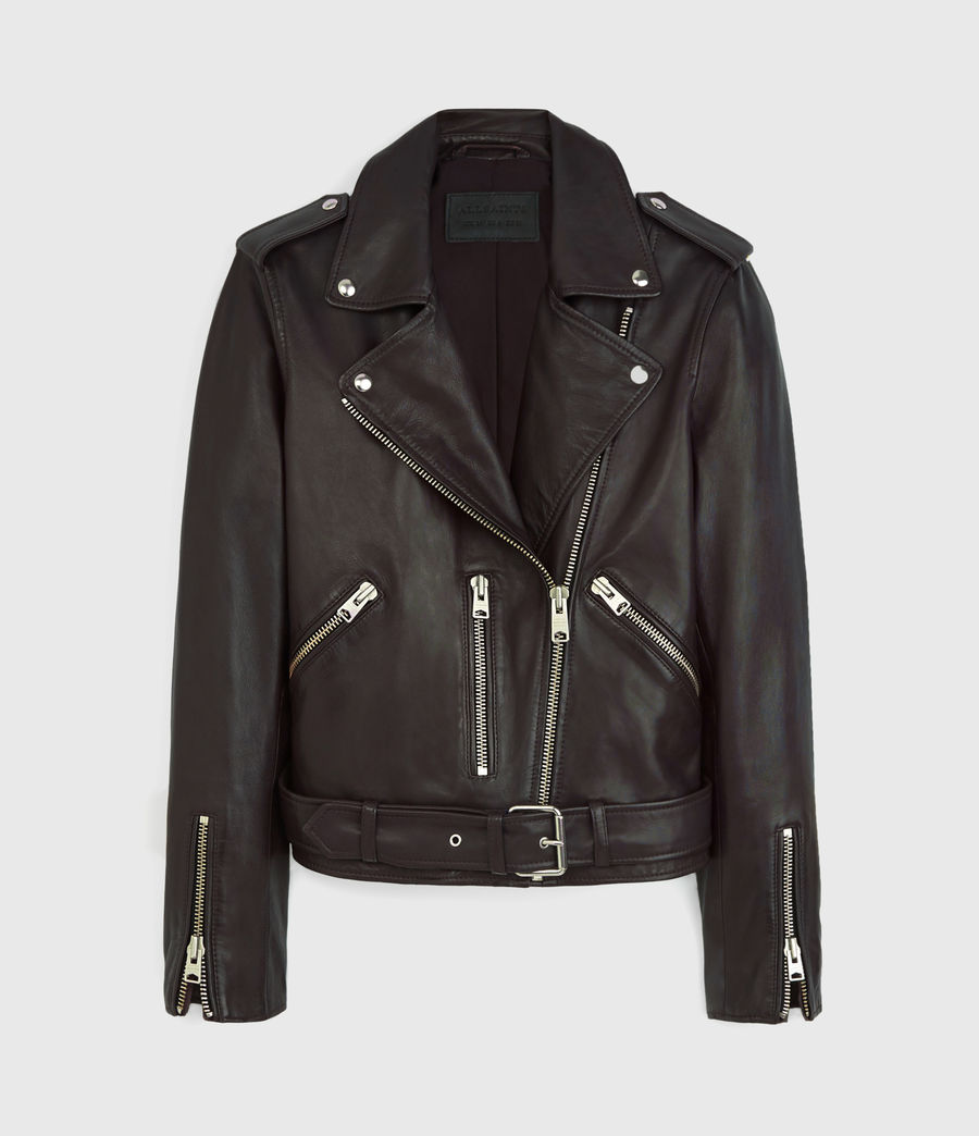 Womens Balfern Leather Biker Jacket (deep_berry_red) - Image 9
