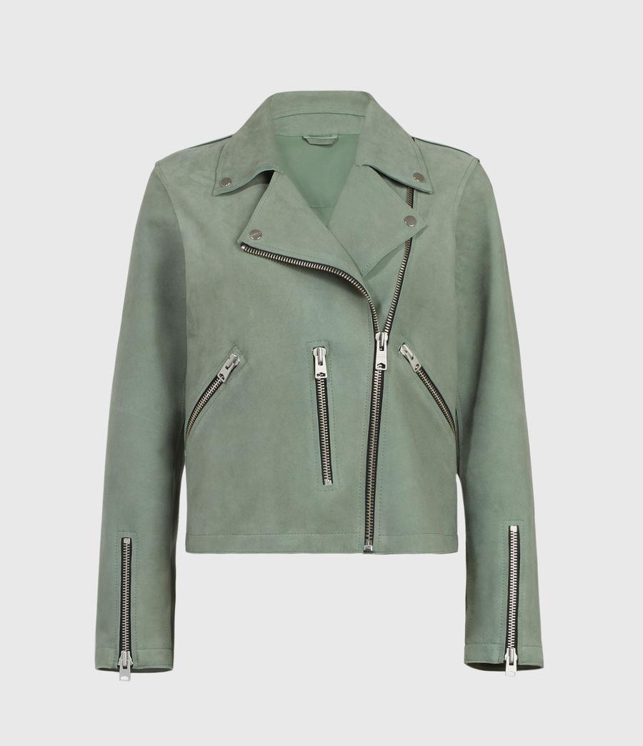 Mujer Unlined Fern Suede Biker Jacket (green) - Image 1