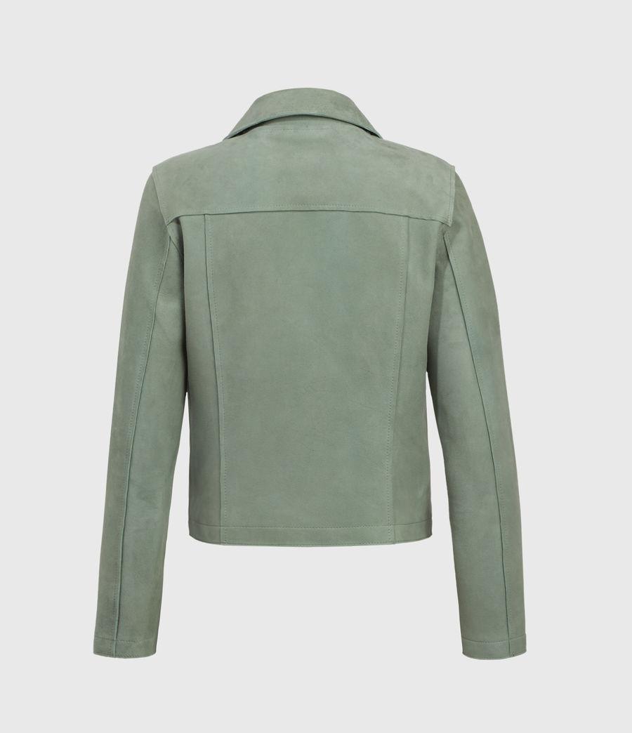 Mujer Unlined Fern Suede Biker Jacket (green) - Image 2