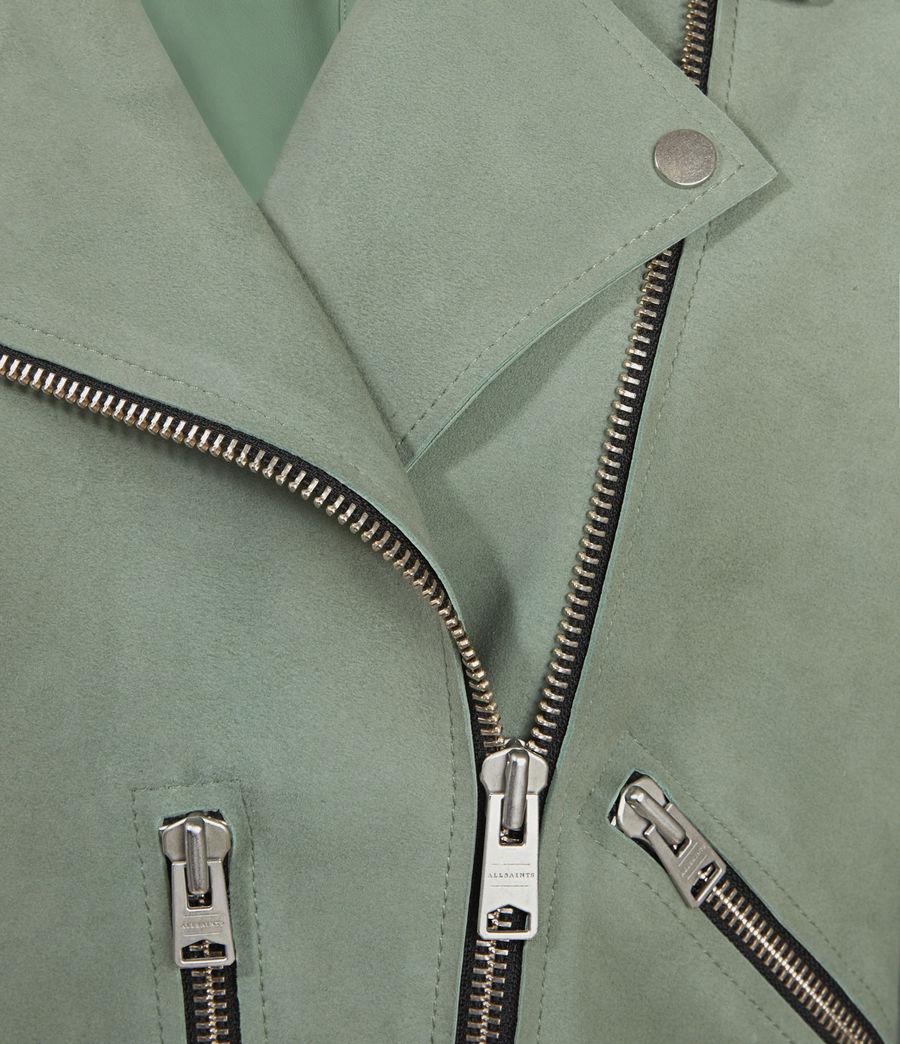 Mujer Unlined Fern Suede Biker Jacket (green) - Image 3