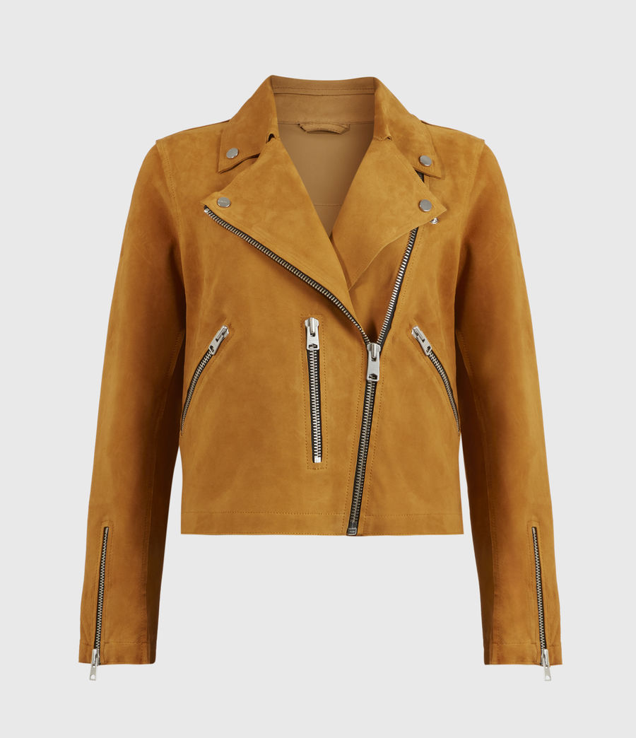 Women's Unlined Fern Suede Biker Jacket (mustard_yellow) - Image 1