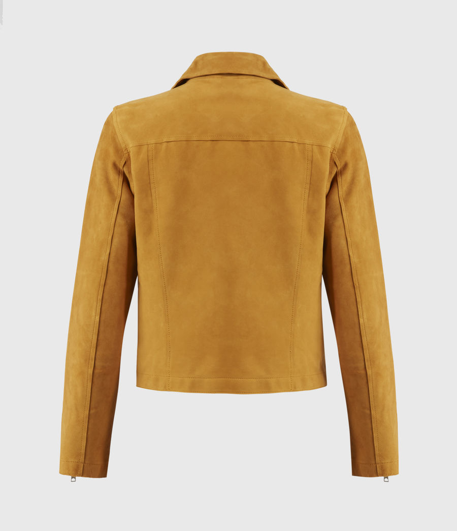 Women's Unlined Fern Suede Biker Jacket (mustard_yellow) - Image 2