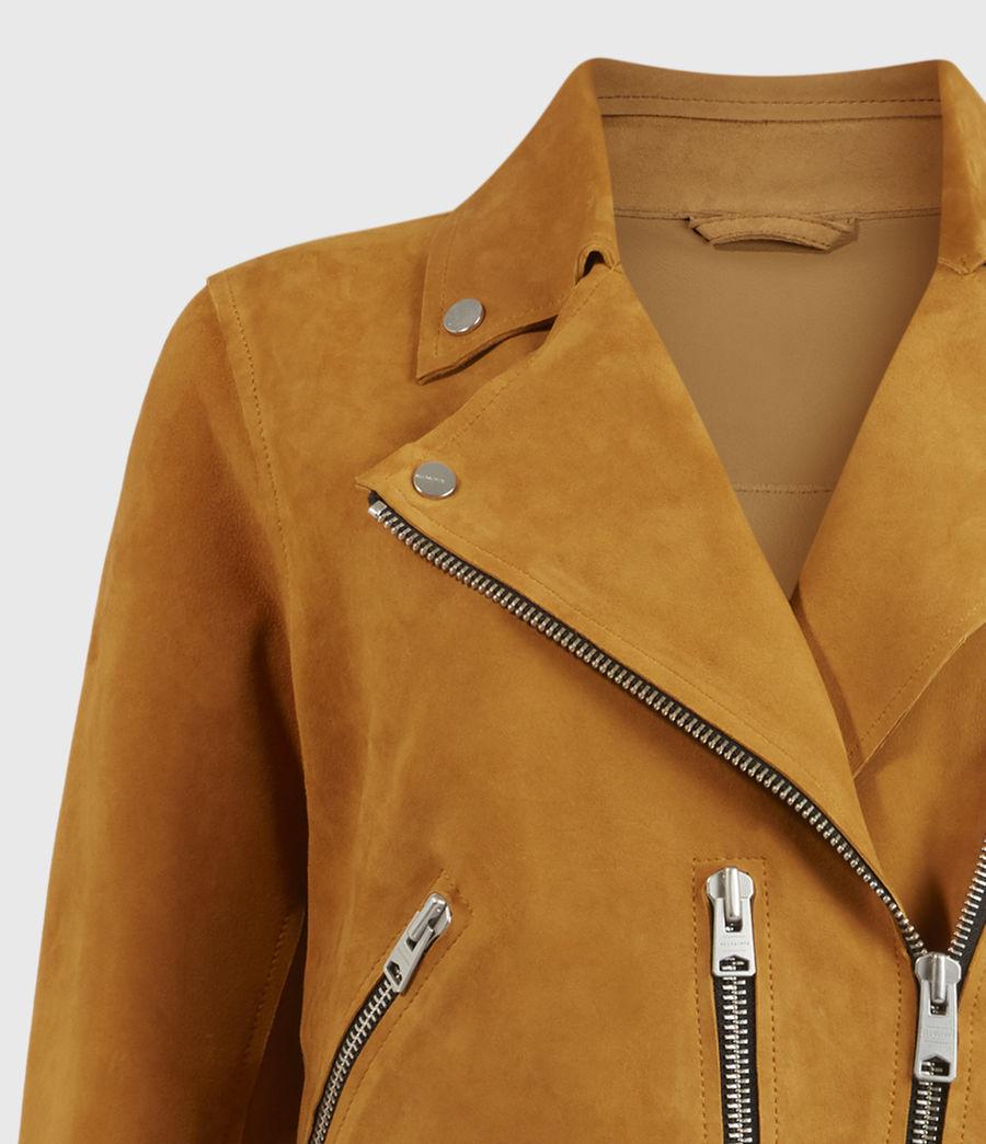 Womens Unlined Fern Suede Biker Jacket (mustard_yellow) - Image 3
