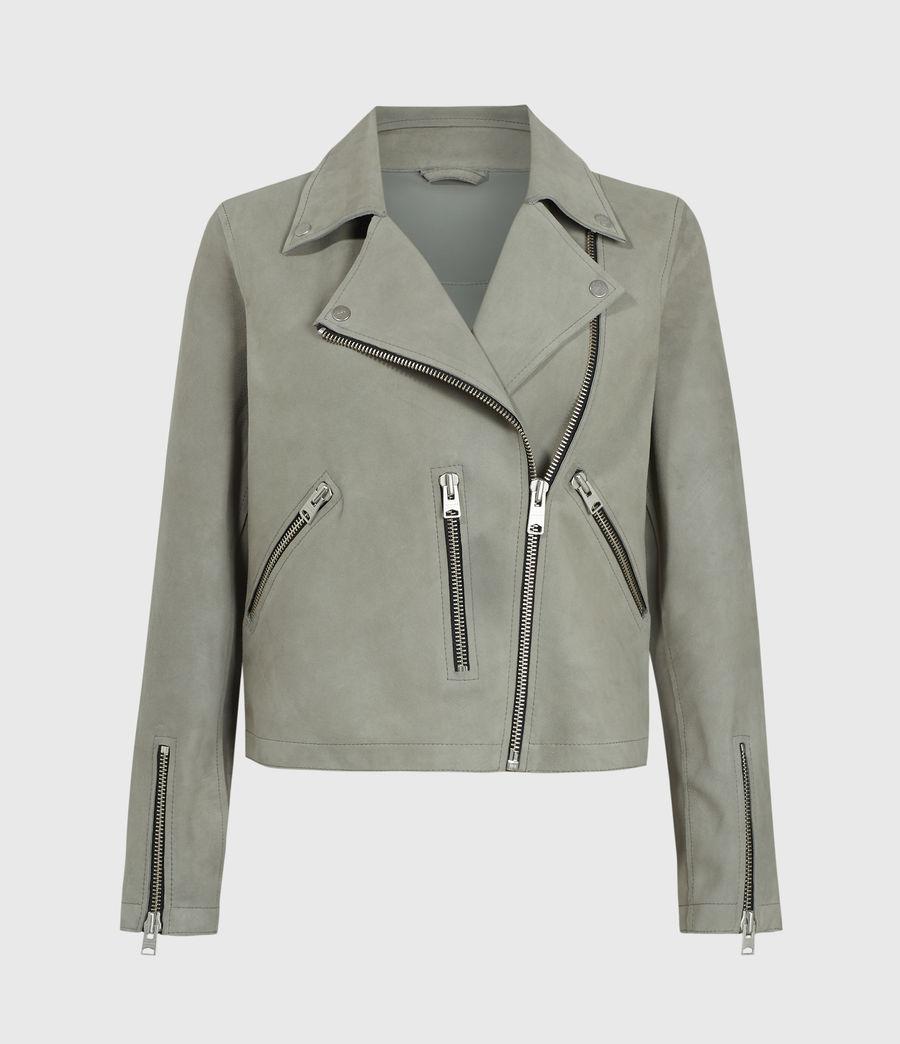 Women's Unlined Fern Suede Biker Jacket (dusky_pine) - Image 1