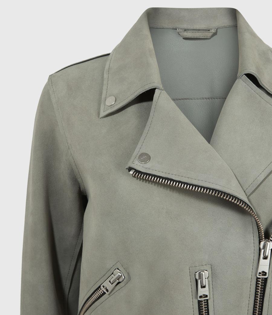 Mujer Unlined Fern Suede Biker Jacket (dusky_pine) - Image 3