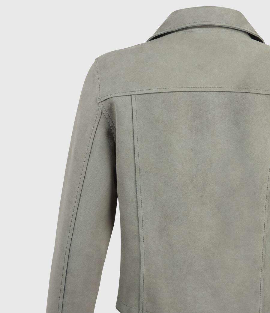 Mujer Unlined Fern Suede Biker Jacket (dusky_pine) - Image 4