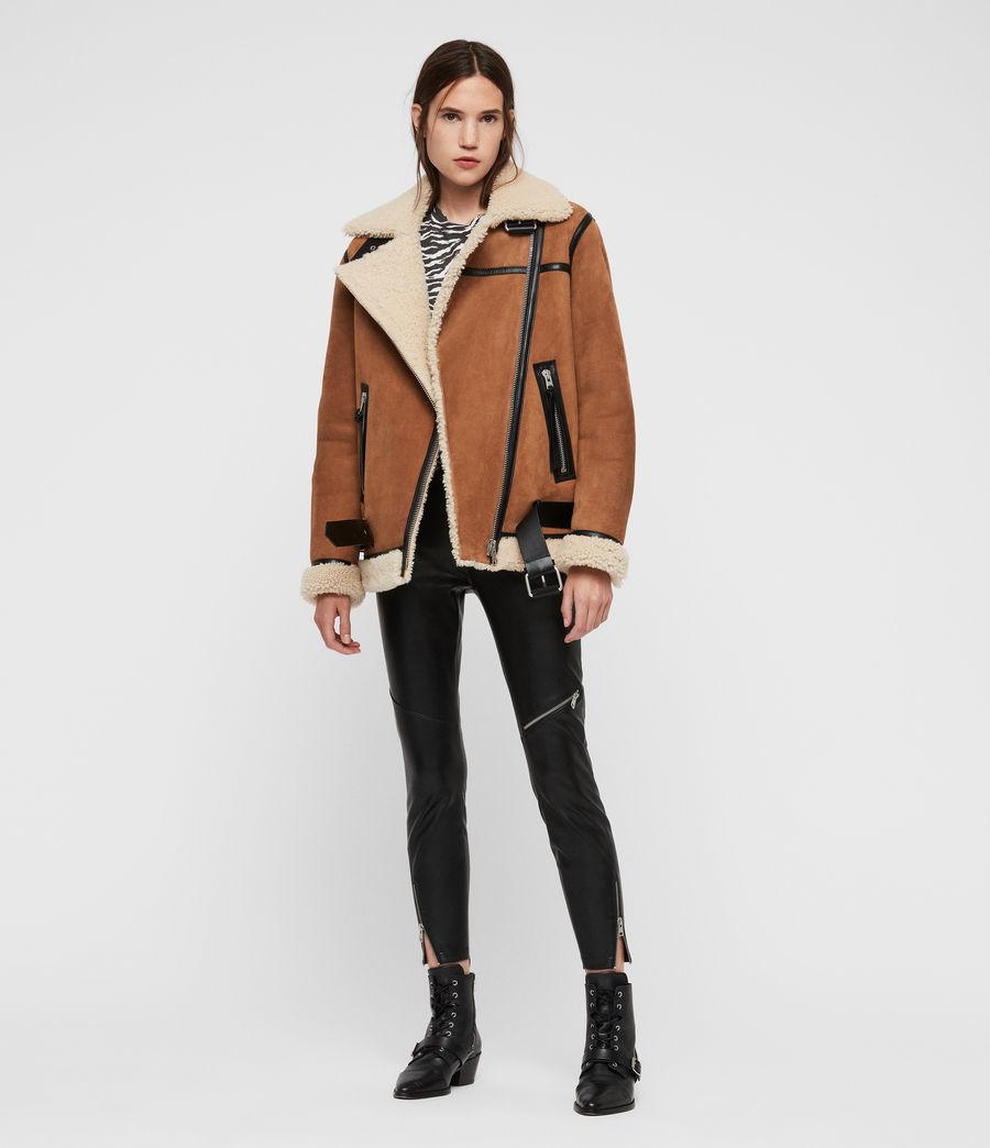 Womens Rei Shearling Jacket (sand_brown_ecru) - Image 1