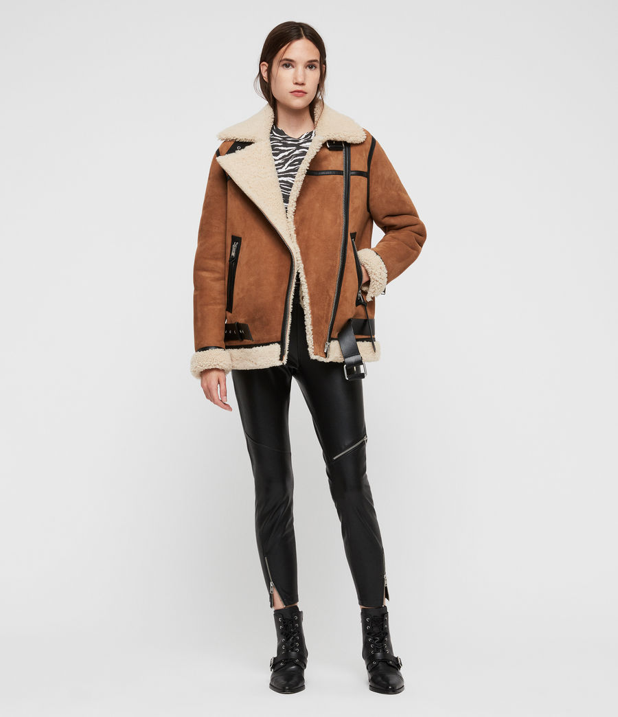 Womens Rei Shearling Jacket (sand_brown_ecru) - Image 3