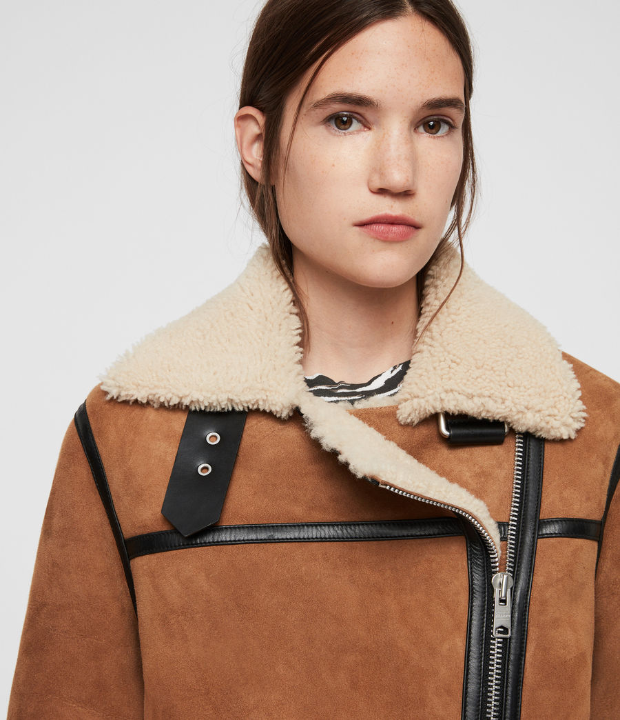 Womens Rei Shearling Jacket (sand_brown_ecru) - Image 4