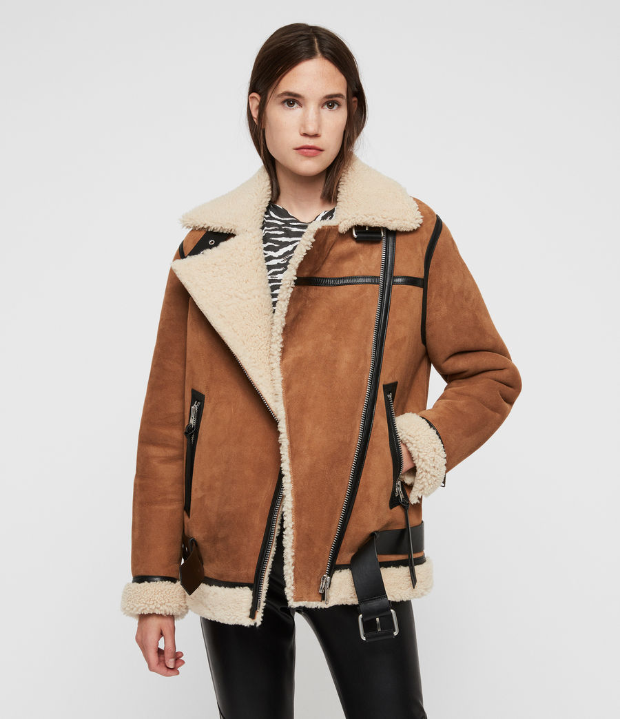 Womens Rei Shearling Jacket (sand_brown_ecru) - Image 5