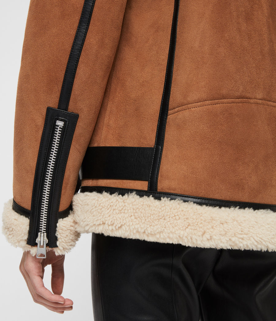 Womens Rei Shearling Jacket (sand_brown_ecru) - Image 6