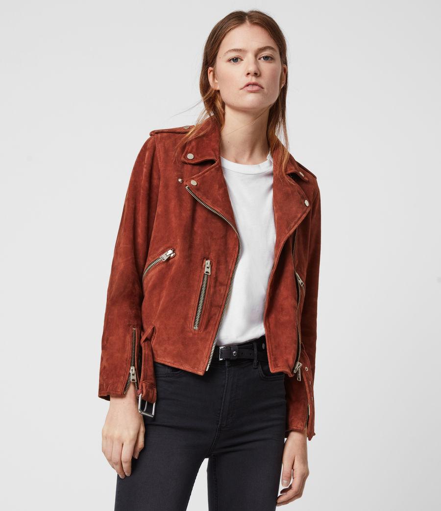Damen Suede Balfern Biker Jacket (cinnamon_red) - Image 1