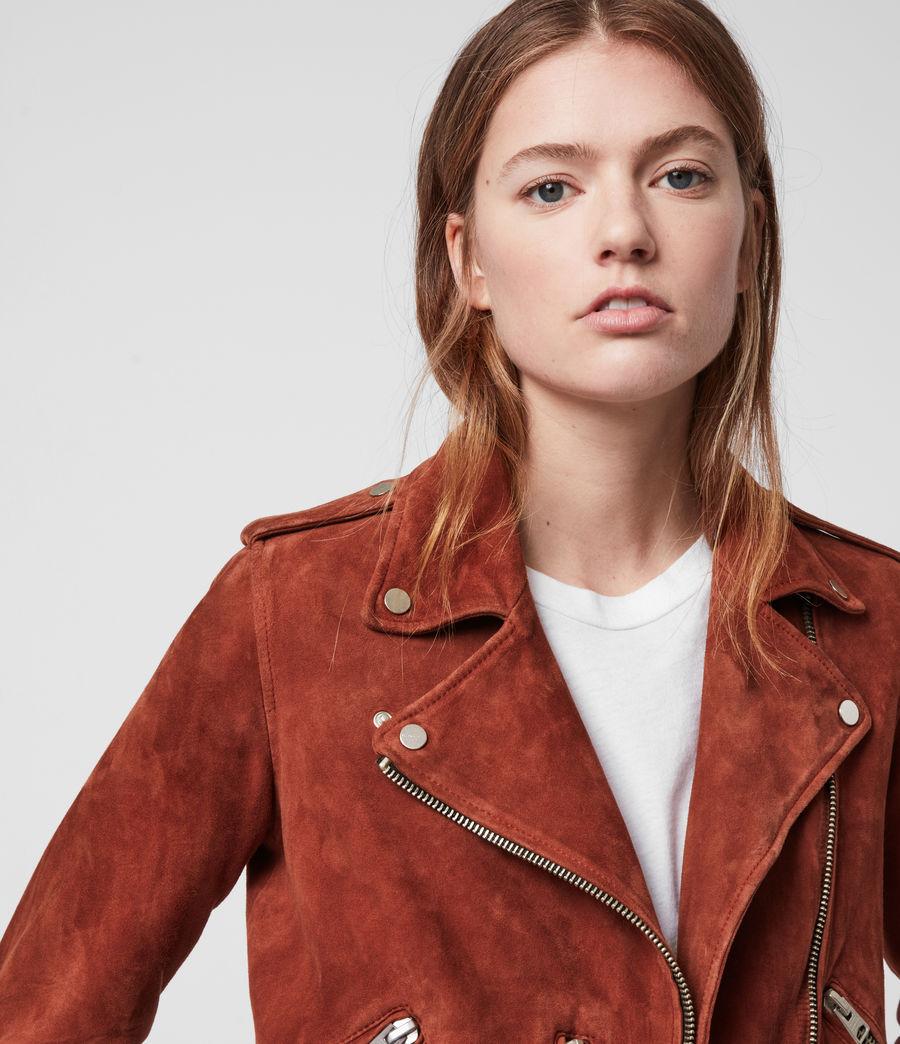 Damen Suede Balfern Biker Jacket (cinnamon_red) - Image 2