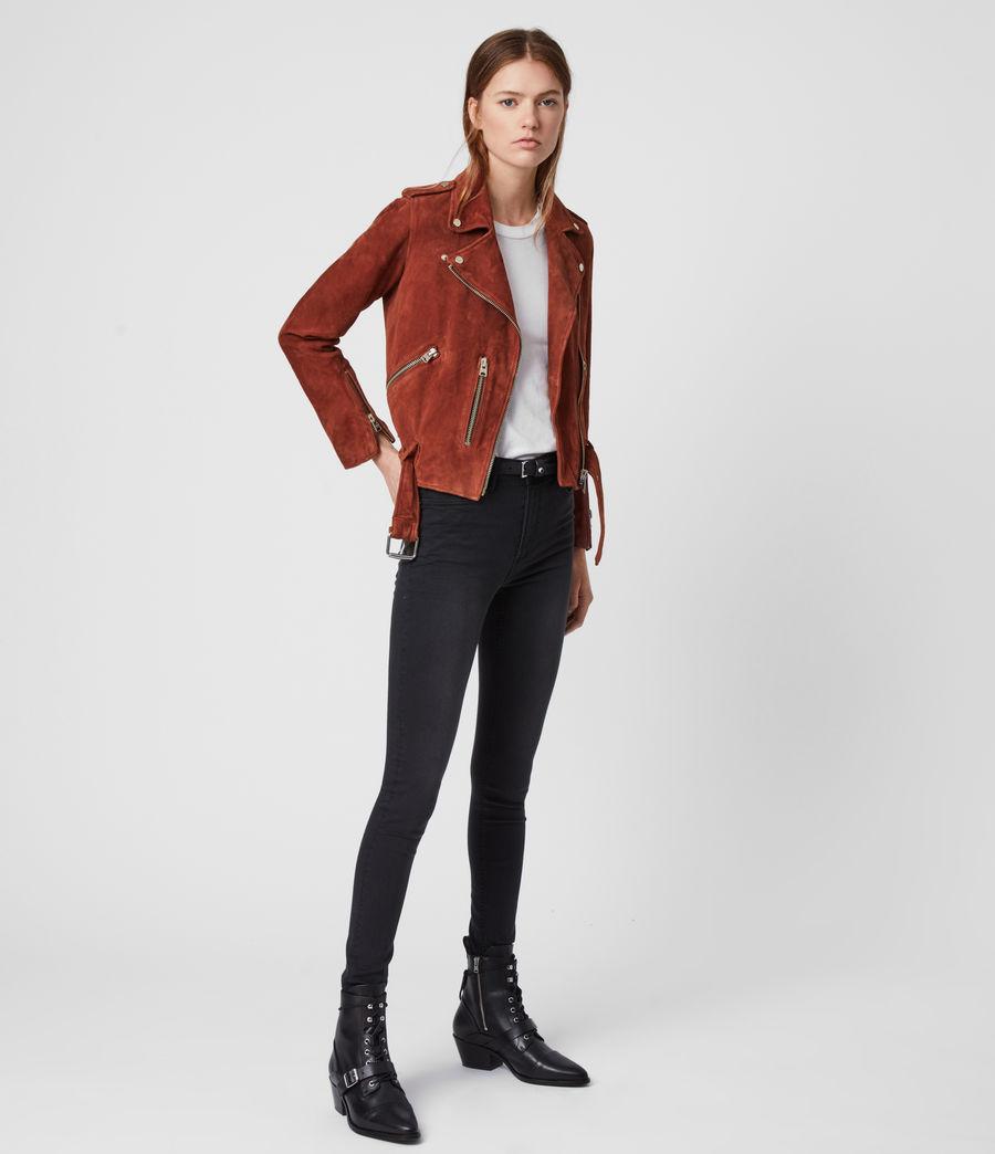 Damen Suede Balfern Biker Jacket (cinnamon_red) - Image 3