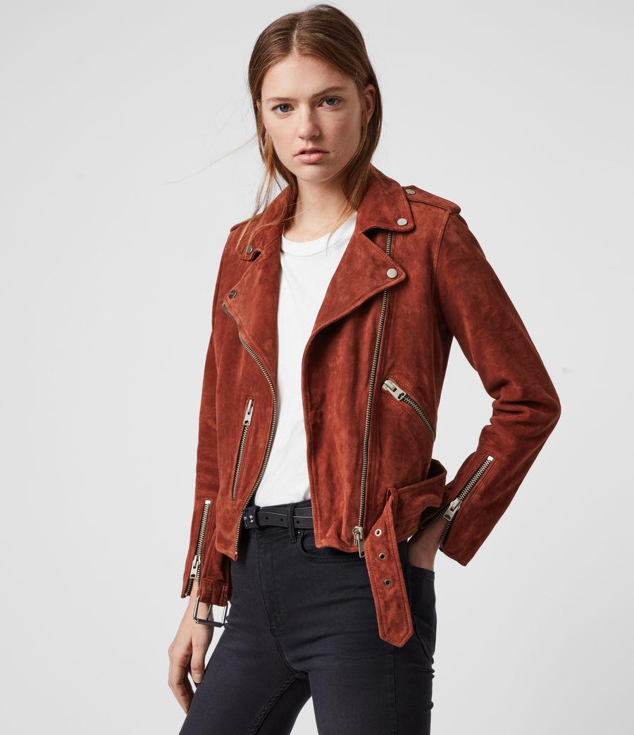 Damen Suede Balfern Biker Jacket (cinnamon_red) - Image 4