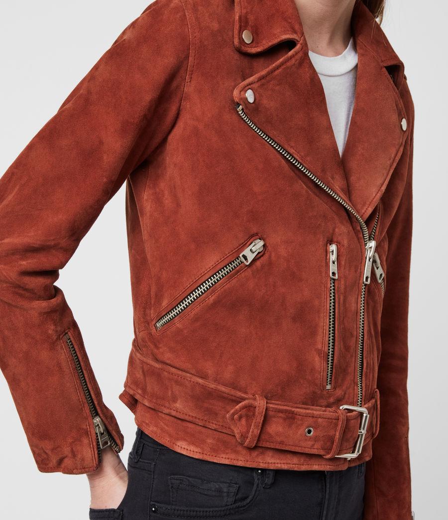 Damen Suede Balfern Biker Jacket (cinnamon_red) - Image 5