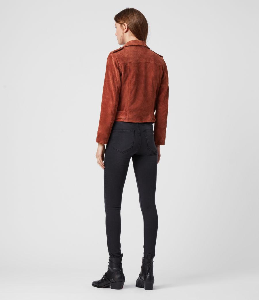 Damen Suede Balfern Biker Jacket (cinnamon_red) - Image 6
