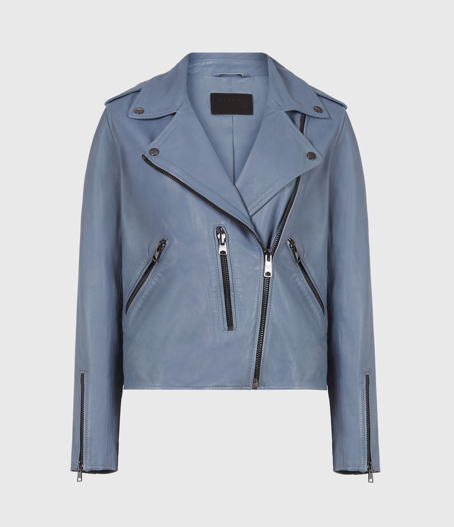 Womens Fern Leather Biker Jacket (flint_blue) - Image 2