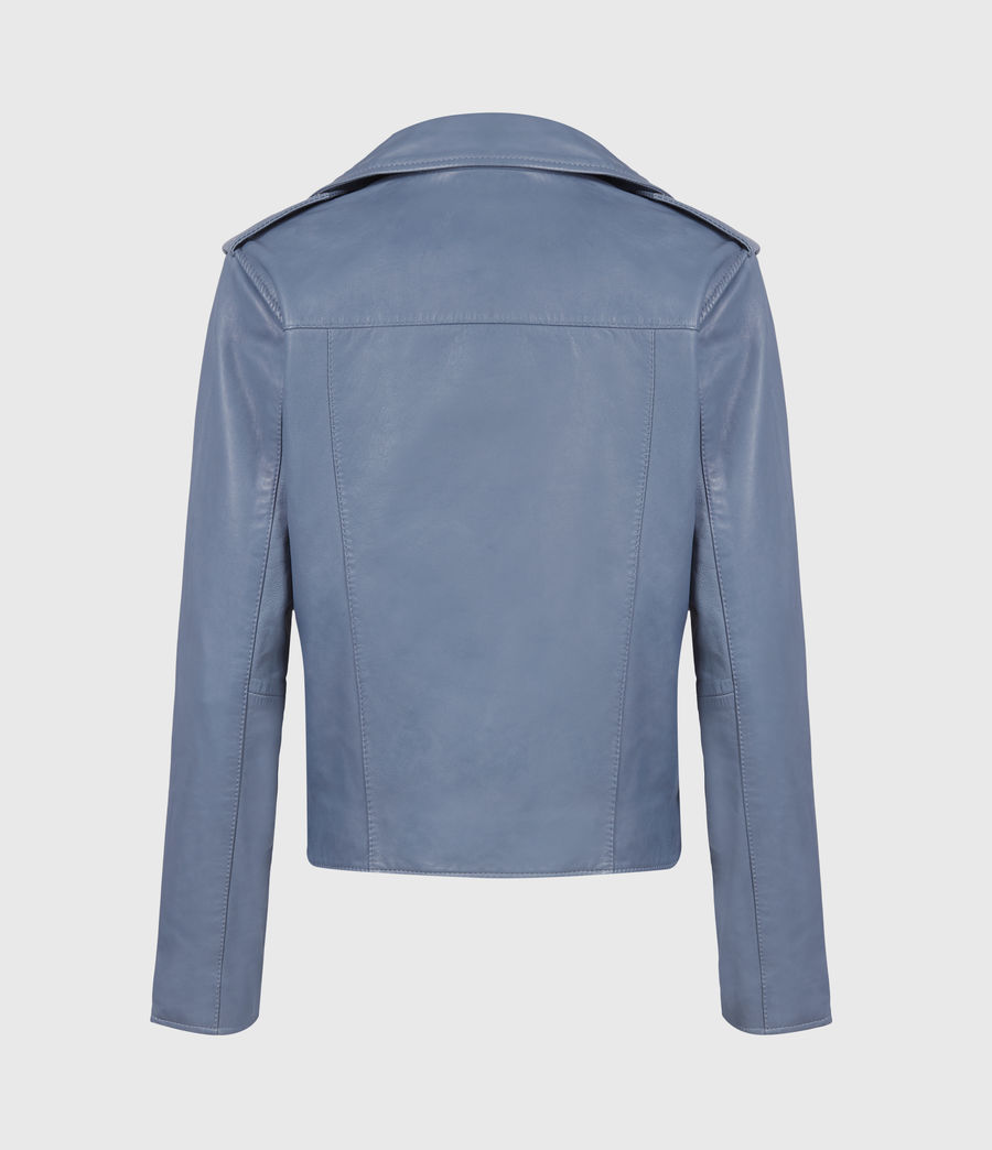 Womens Fern Leather Biker Jacket (flint_blue) - Image 3