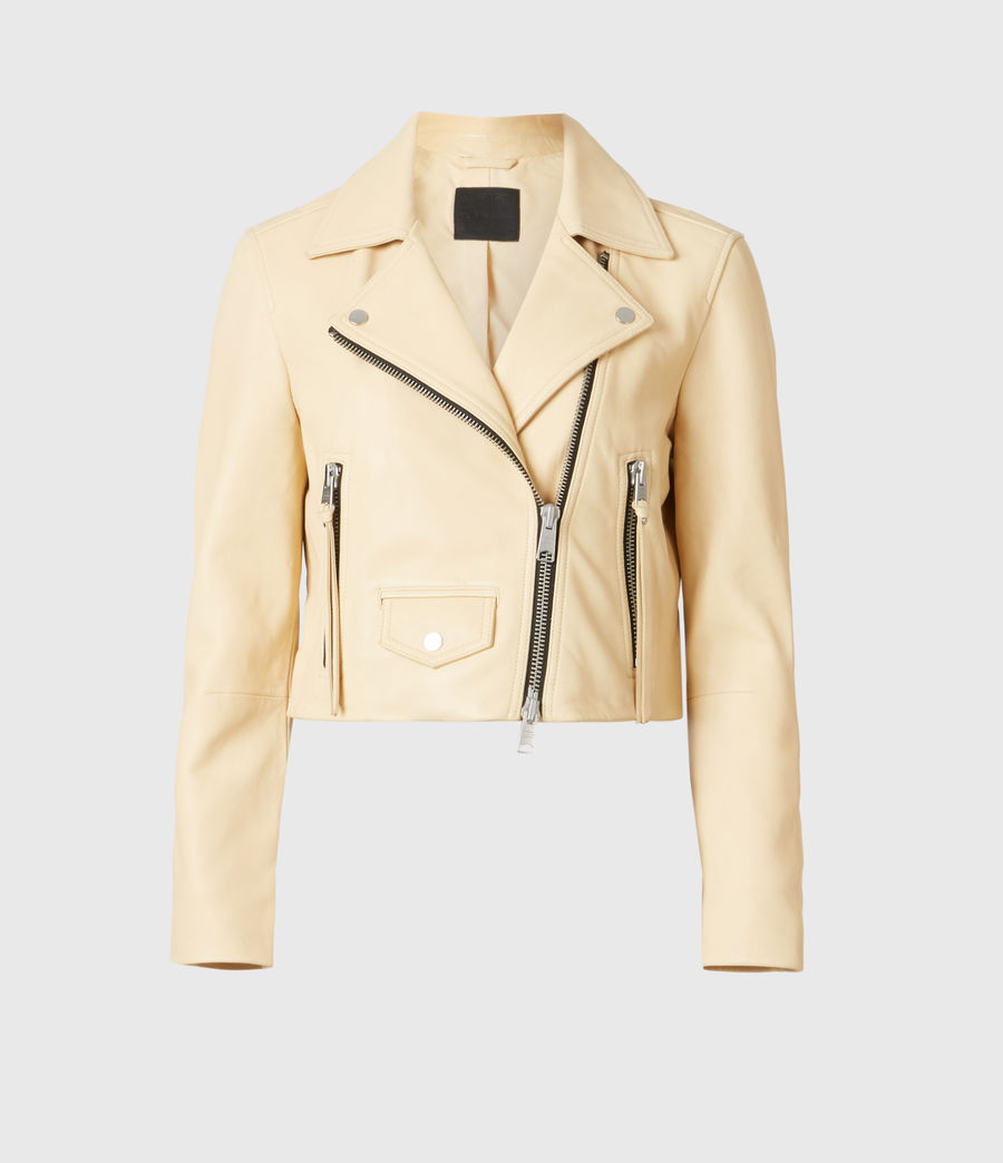 Women's Elora Leather Biker Jacket (sunstone_yellow) - Image 2