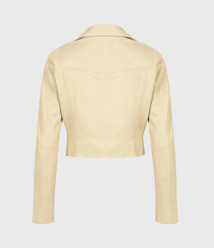 Women's Elora Leather Biker Jacket (sunstone_yellow) - Image 3