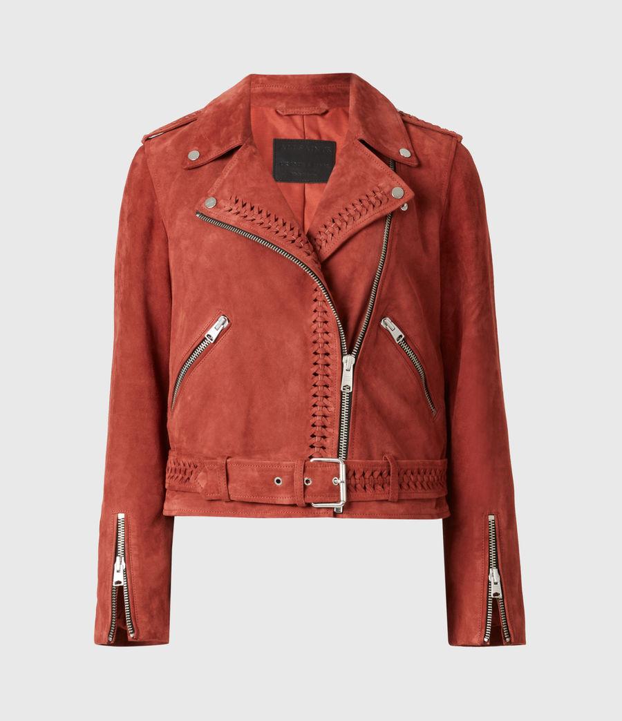 Damen Braided Suede Biker Jacket (arabian_spice_red) - Image 2
