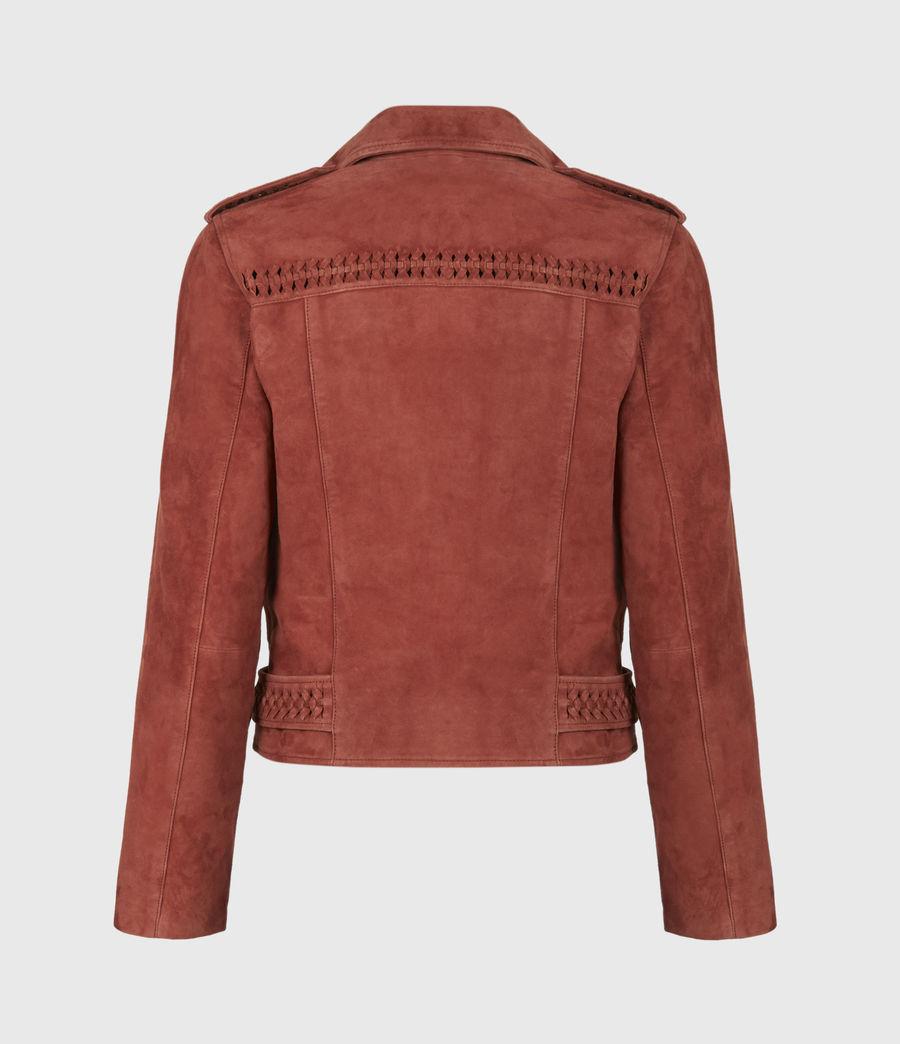 Damen Braided Suede Biker Jacket (arabian_spice_red) - Image 3